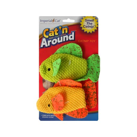 Cat 'n Around Toys (on Hang Card) Neon Fish Duo Catnip Toy