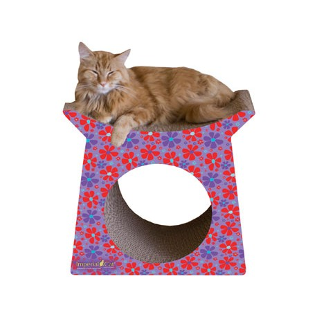 Imperial Cat Tower Tunnel Scratch and Shape, Retro Purple Floral