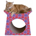 Imperial Cat Tower Tunnel Scratch 'n Shape, Retro Purple Floral