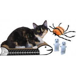 Fishbone Halloween Cat Scratcher and Toy Kit