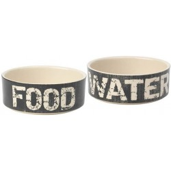 Vintage Food and Water Bowl Set