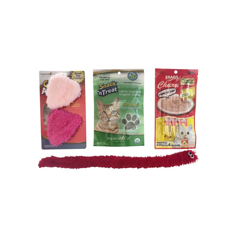 Imperial Cat Valentine Toy Gift Bag Fuzzy Hearts Cat Claws Inc