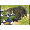 Cat At The Fishpond Door Mat