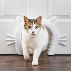 Gives your cat private access to her litter box, food or water