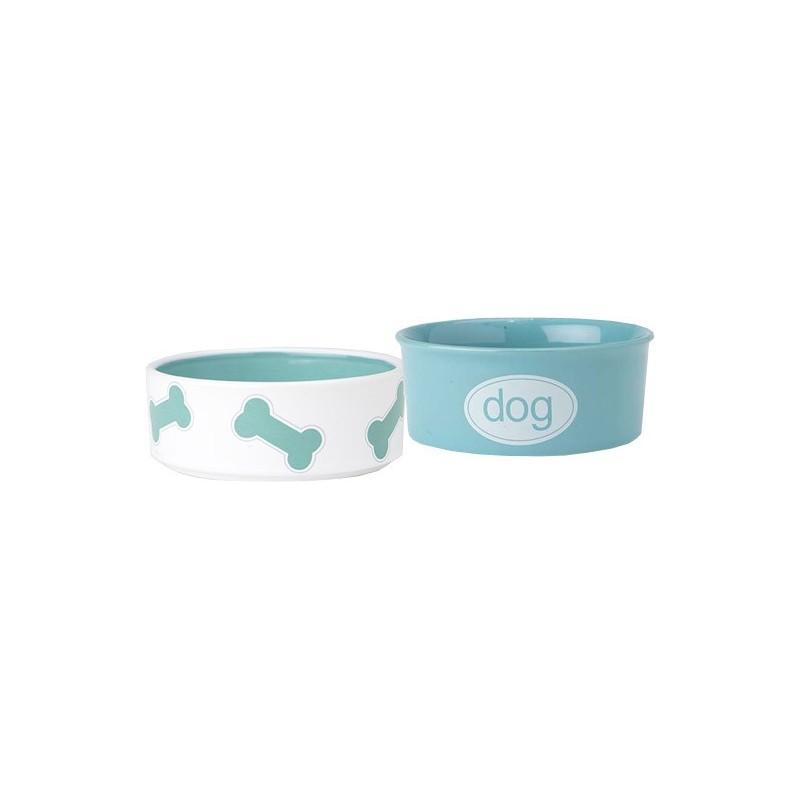 ceramic dog food water bowl set