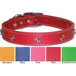 Signature Leather Collar with Bone Studs