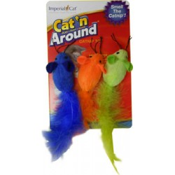 Imperial Cat Feather Catnip Trio Mice Toy