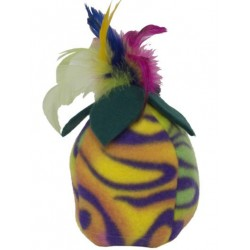 The colorful feathers on top are sure to please your furry friend!