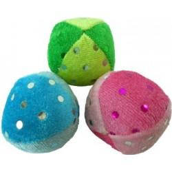 Three soft, fabric balls with shiny, glittery dots!